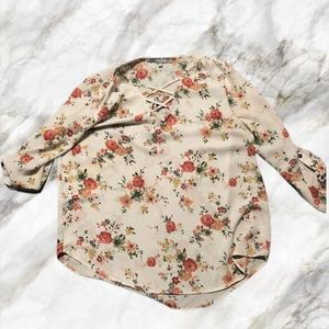 Floral White Blouse - Size Large